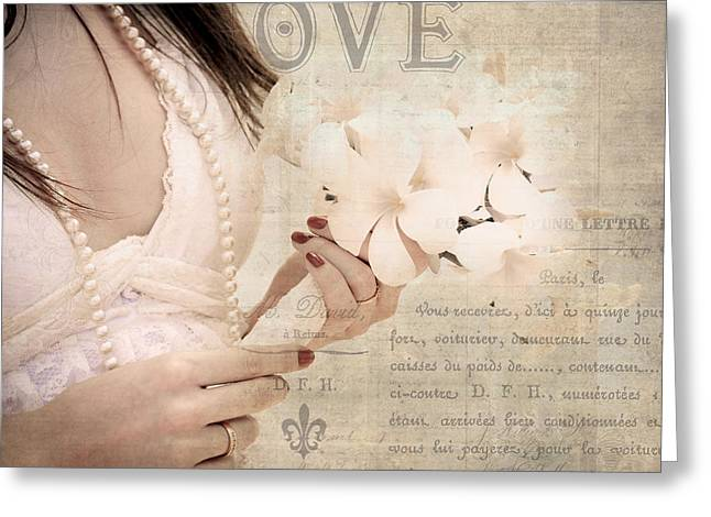 Hands Of Love Greeting Cards - The Words You Say. Love Letters Greeting Card by Jenny Rainbow