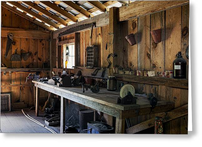 Wood Plank Flooring Greeting Cards - The Workbench Greeting Card by Lynn Palmer