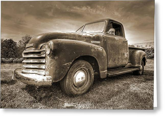 Old Pickup Greeting Cards - The Workhorse in Sepia - 1953 Chevy Truck Greeting Card by Gill Billington