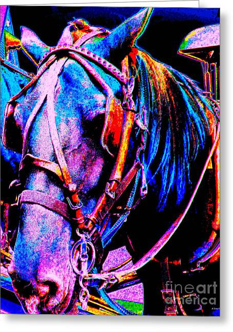 Impressionistic Equine Art Greeting Cards - The Working Horse III Greeting Card by Annie Zeno
