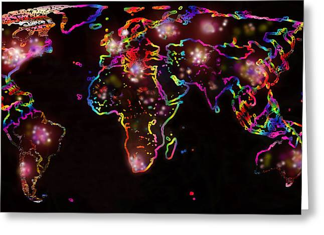 Self Love Greeting Cards - The World at Night  Greeting Card by Augusta Stylianou