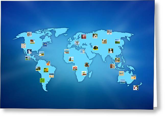 Continent Greeting Cards - The world at your fingertips Greeting Card by Aged Pixel