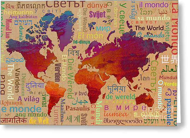 Planet Map Mixed Media Greeting Cards - The World Greeting Card by Bedros Awak