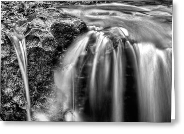 Bw Waterfalls Greeting Cards - The World Famous Pig Snout Falls of Alabama BW Greeting Card by JC Findley
