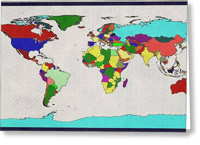 Planet Map Greeting Cards - The World Map Greeting Card by Dan Sproul