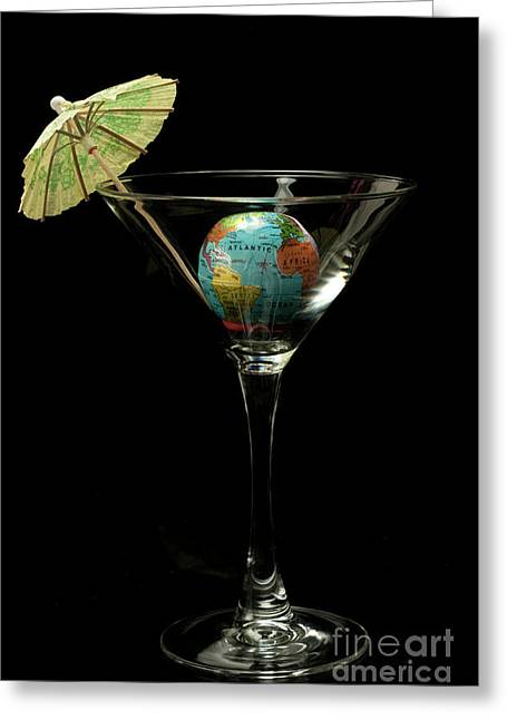 Linda Matlow Greeting Cards - The World tini cocktail Greeting Card by Linda Matlow