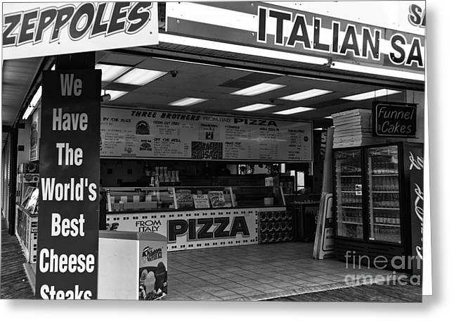 The Jersey Shore Greeting Cards - The Worlds Best Cheese Steaks mono Greeting Card by John Rizzuto