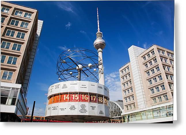Alexanderplatz Greeting Cards - The Worldtime Clock Alexanderplatz Berlin Germany Greeting Card by Michal Bednarek