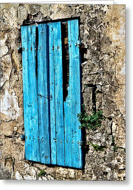 Broken Shutters Greeting Cards - The worn blue shutter Greeting Card by Tom Prendergast