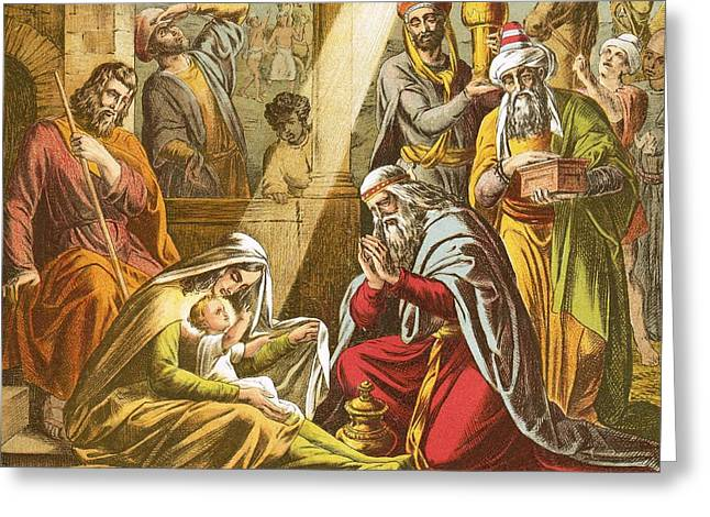 Worship God Paintings Greeting Cards - The Worship of the Wise Men  Greeting Card by English School