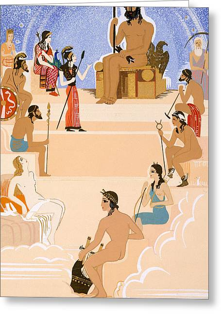 Mt Drawings Greeting Cards - The Worship of Zeus Greeting Card by Francois-Louis Schmied