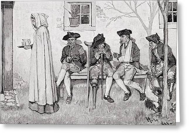 Peculiar Greeting Cards - The Wounded Soldiers Sat Along The Wall, Illustration From Harpers Magazine, October 1889 Litho Greeting Card by Howard Pyle