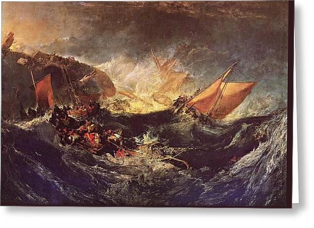 Painter Of Light Greeting Cards - The wreck of a transport ship 1810 Greeting Card by J M W Turner