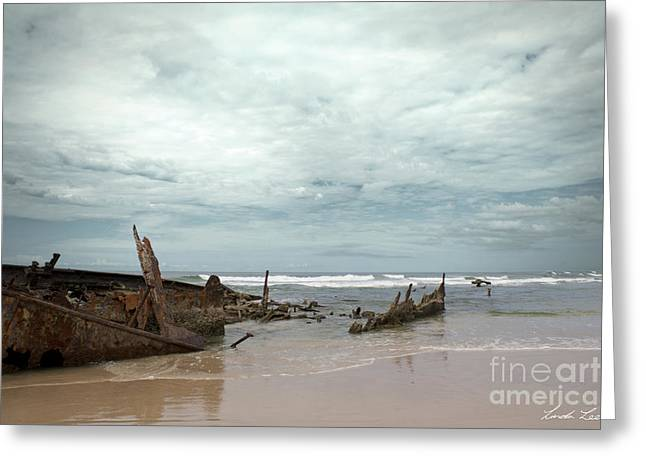 Lindalees Greeting Cards - The Wreck of the Maheno Greeting Card by Linda Lees
