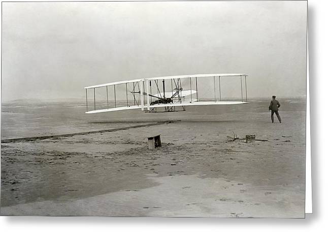 Humans Greeting Cards - The Wright brothers first powered Greeting Card by Science Photo Library