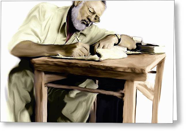 Lithograph Drawings Greeting Cards - The Writer    Ernest Hemingway Greeting Card by Iconic Images Art Gallery David Pucciarelli