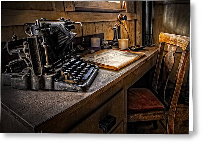 Manual Greeting Cards - The Writers Desk Greeting Card by Debra and Dave Vanderlaan