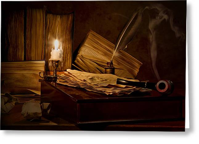 Candle Lit Greeting Cards - The Writing Desk Greeting Card by Mary Tomaino