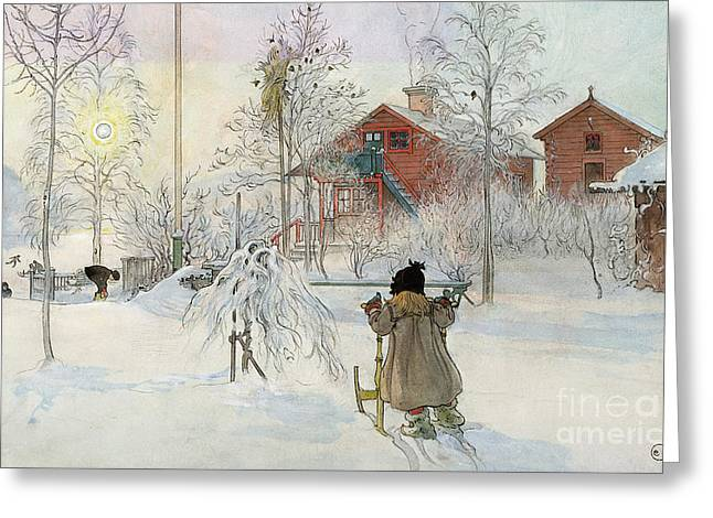 Slush Greeting Cards - The Yard and Wash House Greeting Card by Carl Larsson