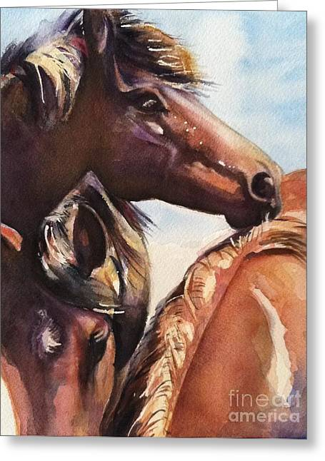 Quarter Horse Greeting Cards - The Yearlings Greeting Card by Maria