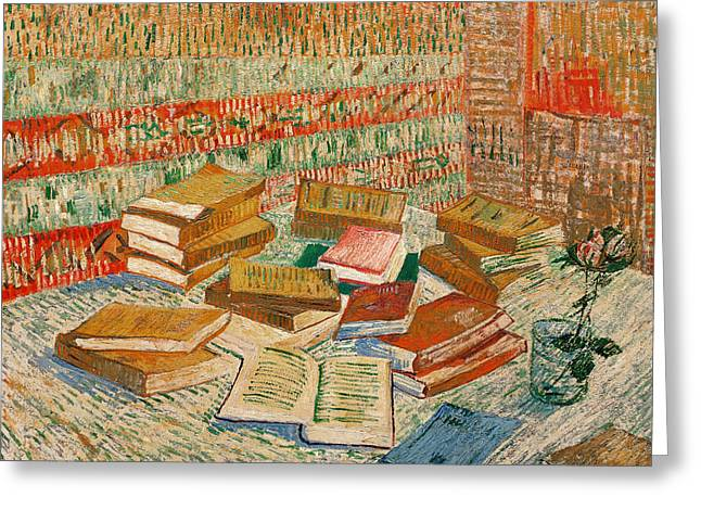 Desks Greeting Cards - The Yellow Books Greeting Card by Vincent Van Gogh