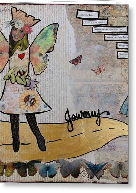 Etc. Mixed Media Greeting Cards - The Yellow Brick Road Greeting Card by Debbie Hornsby
