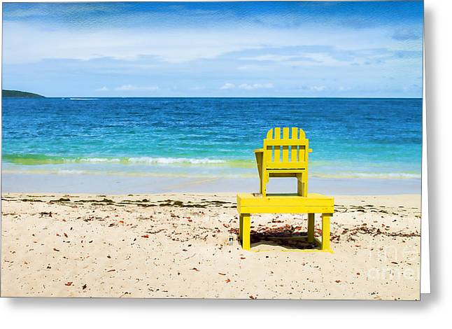Tropical Island Greeting Cards - The Yellow Chair Greeting Card by Betty LaRue