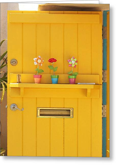 Entryway Greeting Cards - The Yellow Door Greeting Card by Art Block Collections