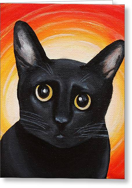 Off The Wall Greeting Cards - The Yellow-Eyed Innocent Kitten  Greeting Card by Lauren Hammack