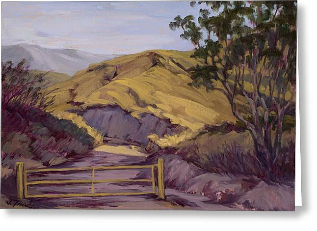 Angeles Forest Greeting Cards - The Yellow Gate Greeting Card by Jane Thorpe