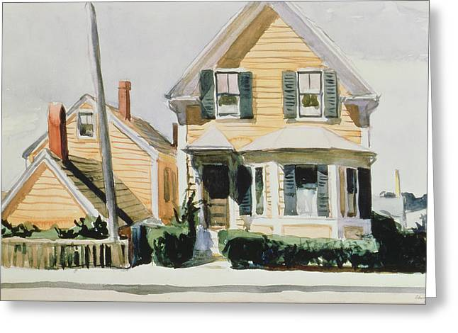 New England Lights Greeting Cards - The Yellow House Greeting Card by Edward Hopper