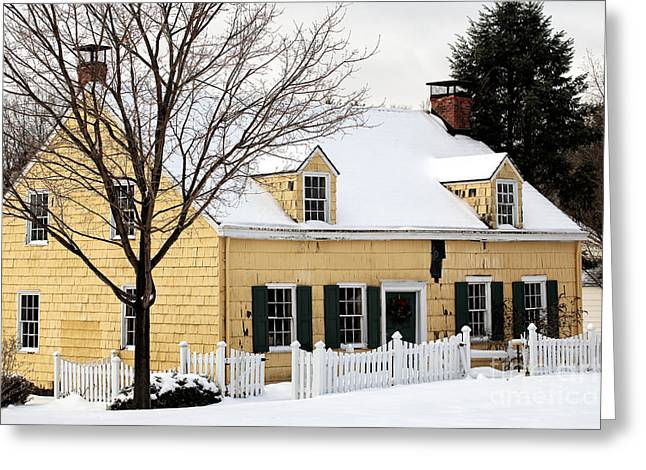 Old School House Greeting Cards - The Yellow House Greeting Card by John Rizzuto
