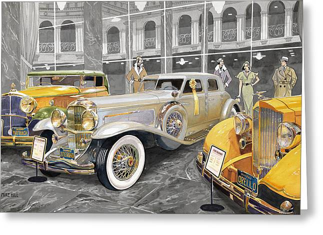 Classic Car Greeting Cards - The Yellow Ribbon Greeting Card by Mike Hill