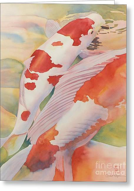 Koi Fish Greeting Cards - The Yellow River Greeting Card by Robert Hooper