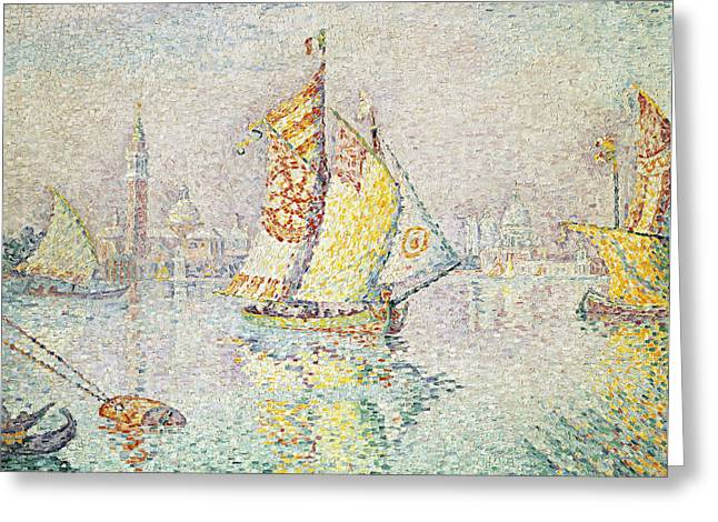 Pointillist Greeting Cards - The Yellow Sail, Venice, 1904 Oil On Canvas Greeting Card by Paul Signac