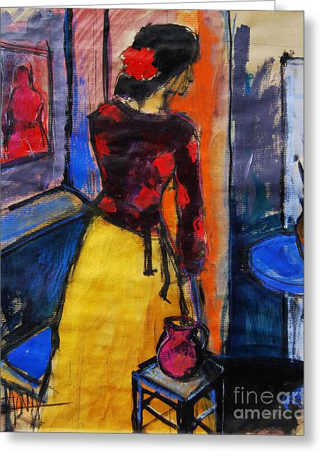 Blouse Greeting Cards - The yellow skirt - Pia #9 - figure series Greeting Card by Mona Edulesco