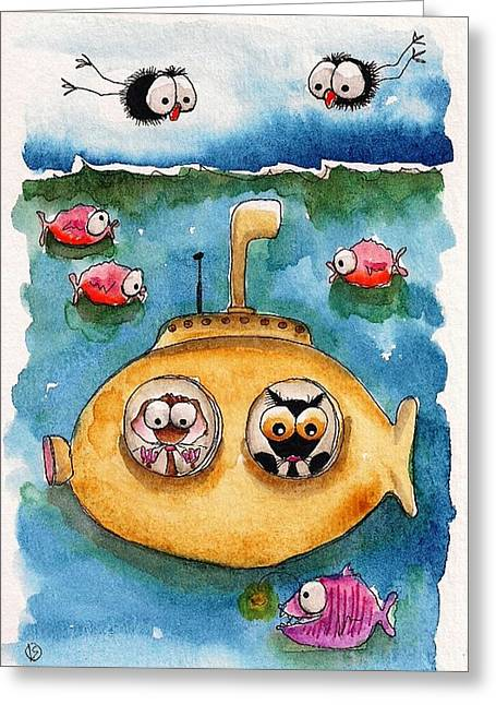 Yellow Submarine Greeting Cards - The yellow Submarine Greeting Card by Lucia Stewart