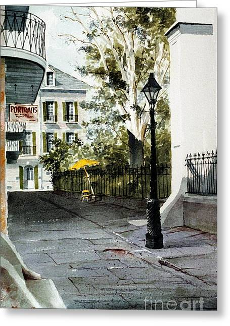 Pirates Paintings Greeting Cards - The Yellow Umbrella Greeting Card by Gerald Bienvenu