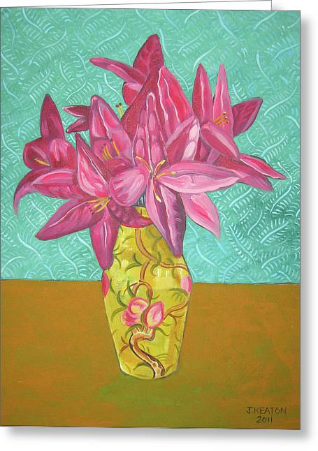 Day Lilly Paintings Greeting Cards - The Yellow Vase Greeting Card by John Keaton