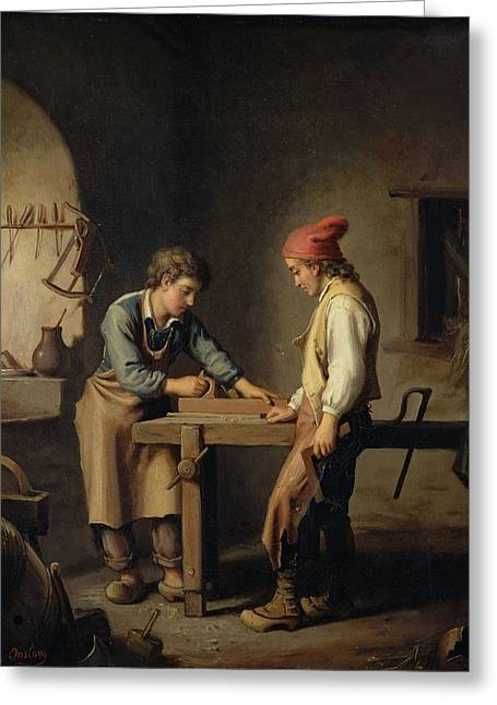 Carpenter Greeting Cards - The Young Apprentice, Before 1903 Oil On Canvas Greeting Card by Edouard Amable Onslow