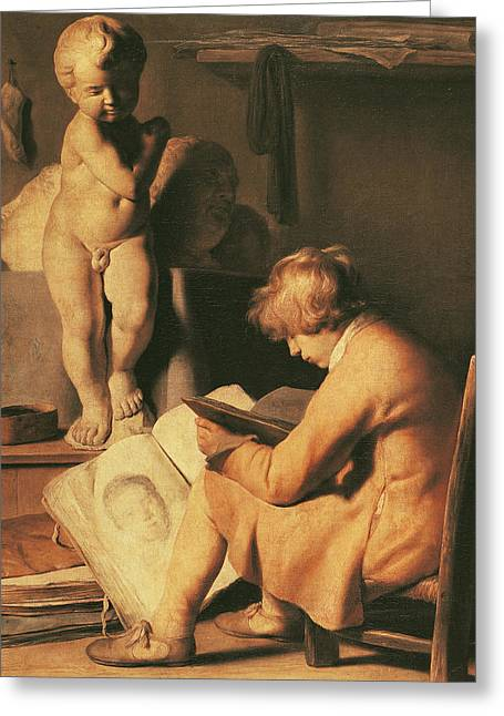 Nudes Sculptures Greeting Cards - The Young Artist Greeting Card by Jan the Elder Lievens