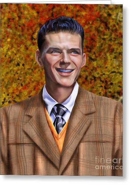 Frank Sinatra Paintings Greeting Cards - The Young Chairman - Sinatra Greeting Card by Reggie Duffie