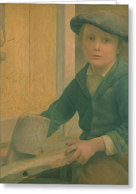 Young Boy Greeting Cards - The Young Craftsman 1901 Greeting Card by Emile Bastien-Lepage