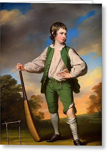Cricket Paintings Greeting Cards - The Young Cricketer - 1768 Greeting Card by Francis Coates
