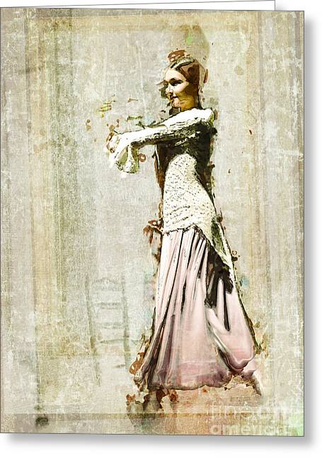 Lace Dress Greeting Cards - The Young Dancer - Seville Greeting Card by Mary Machare