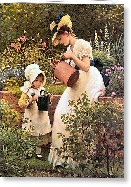 Old Masters Greeting Cards - The Young Gardener 1889 Greeting Card by George Dunlop Leslie