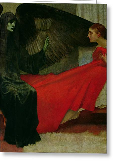 Grim Reaper Greeting Cards - The Young Girl and Death Greeting Card by Marianne Stokes