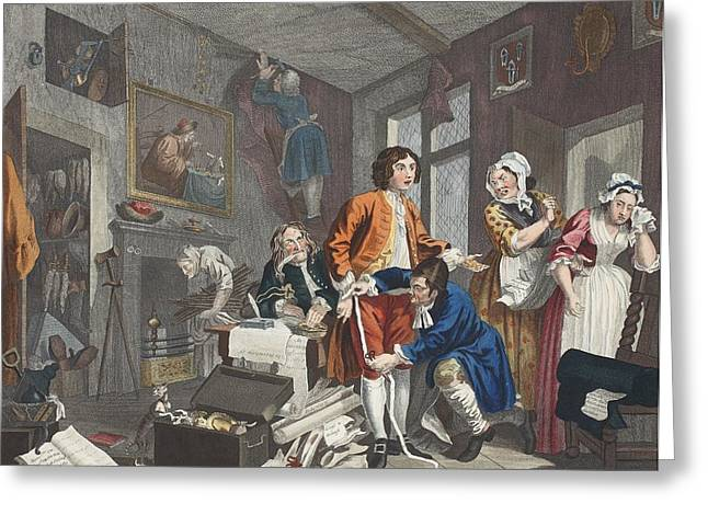 Crying Drawings Greeting Cards - The Young Heir Takes Possession Greeting Card by William Hogarth