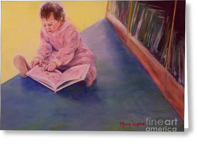 Library Pastels Greeting Cards - The Young Librarian Greeting Card by Mary Lynne Powers