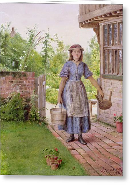 Burden Greeting Cards - The Young Milkmaid Greeting Card by George Goodwin Kilburne